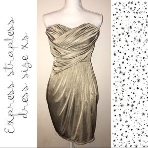 Champagne strapless dress by Express size XS 🥂